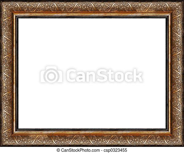 anticaglia, immagine, dorato, cornice, isolato, rustico, scuro - csp0323455