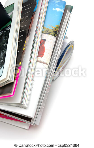Stack of Magazine Closeup - csp0324884