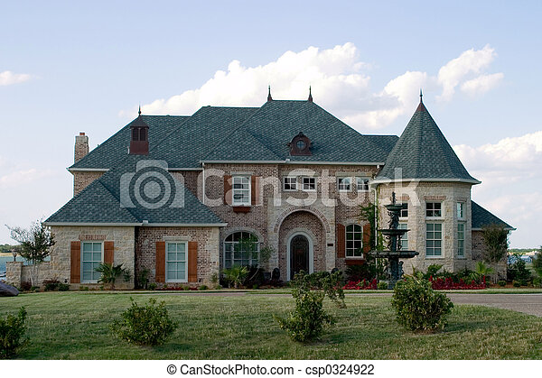 Huge Brick House on Lake - csp0324922