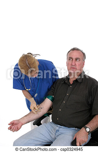 Nurse Giving Shot To Anxious Patient 2 - csp0324945