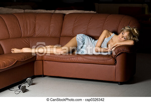 Stock photo of sleeping beauty beautiful girl in blue for Couch you can sleep on