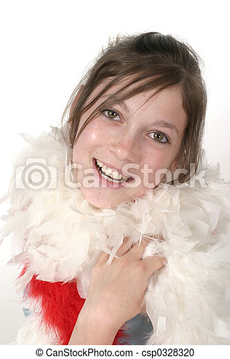 Stock Photo - Young Glamour Teen With Feather Boa 2a