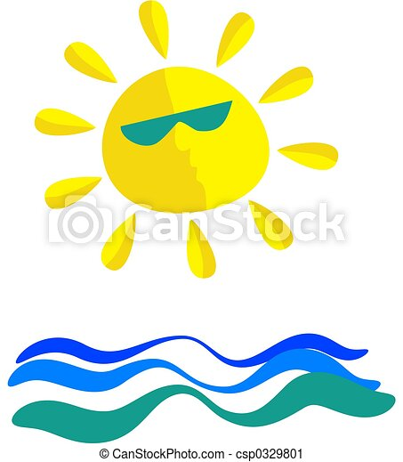 Clipart di soleggiato mare wavey mare e sole for Mare clipart