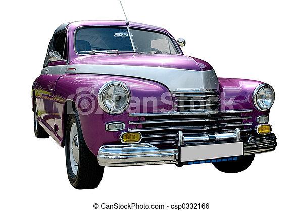 Purple retro car isolated - csp0332166
