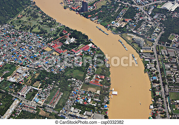 phraya, rivière,  chao - csp0332382