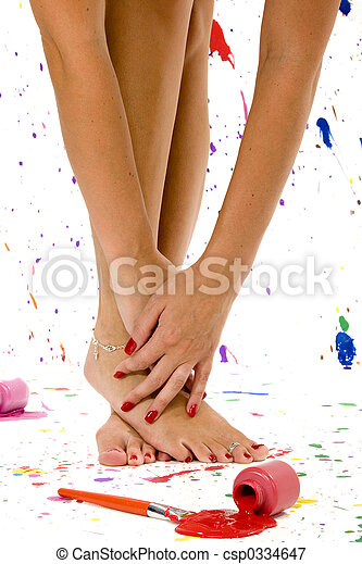 sexy, piedi, mani - csp0334647