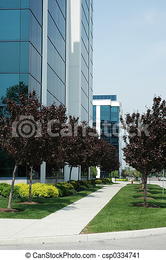 Business office buildings with path and trees