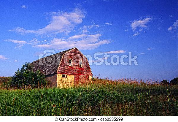 Old Barn with Farmyard - csp0335299