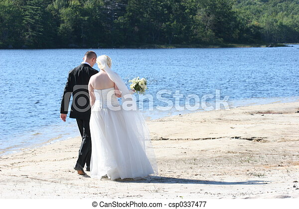 bröllop, gå - csp0337477