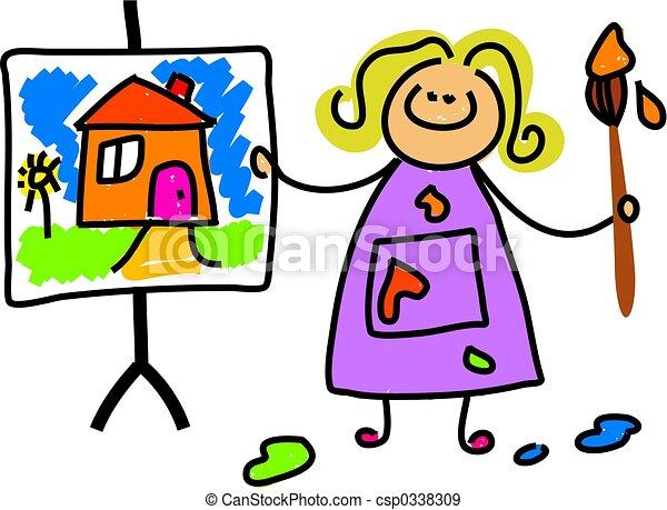 Gemälde clipart  Stock Illustration von gemälde, kind - kleines mädchen, bewundern ...