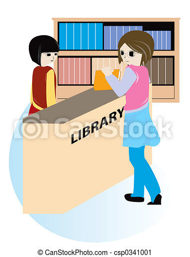 Clipart of Library - Student borrowing a book at the ...