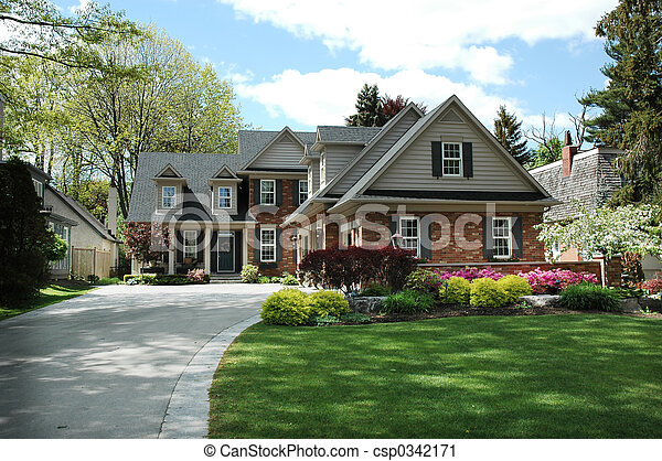 House with Black Shutters - csp0342171