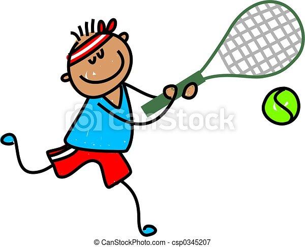 A tenisz, kölyök - kevés, etnikai, fiú, Játék, tenisz ...