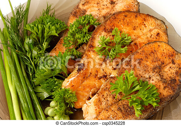 Appetizing fried salmon - csp0345228