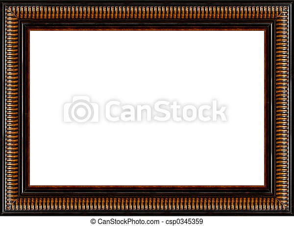 Antique rustic black wooden picture frame isolated - csp0345359