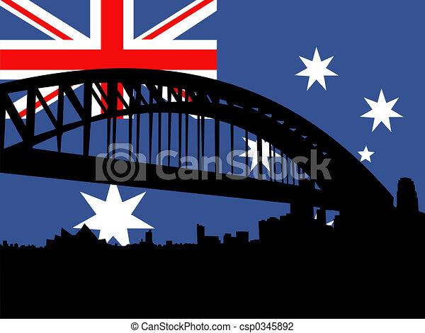 Clip Art of Sydney harbour bridge against Australian flag ...