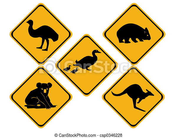 Australian wildlife road signs - csp0346228