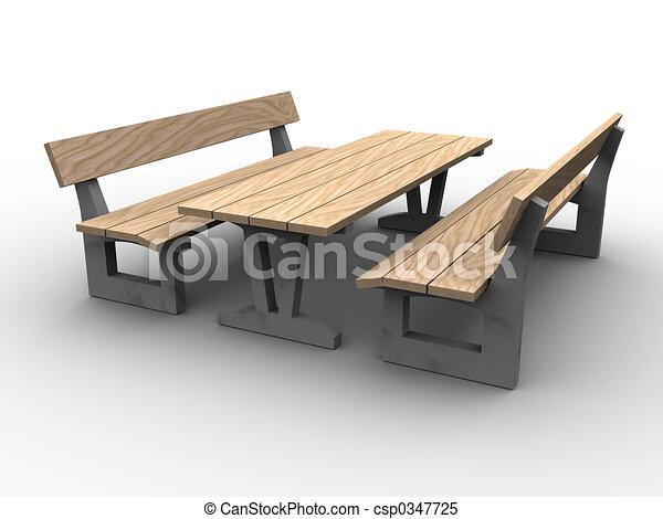 stock illustrations of 3d garden furniture 3d image of garden furniture wood and. Black Bedroom Furniture Sets. Home Design Ideas
