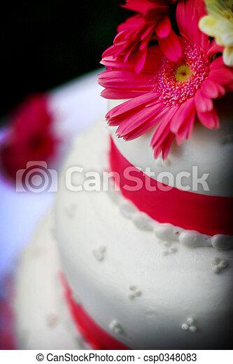 torta, fiore, matrimonio - csp0348083