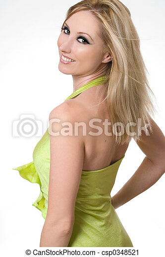 Smiling girl glances over shoulder - csp0348521
