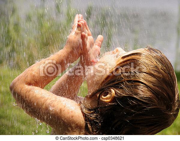 Playing in the rain - csp0348621
