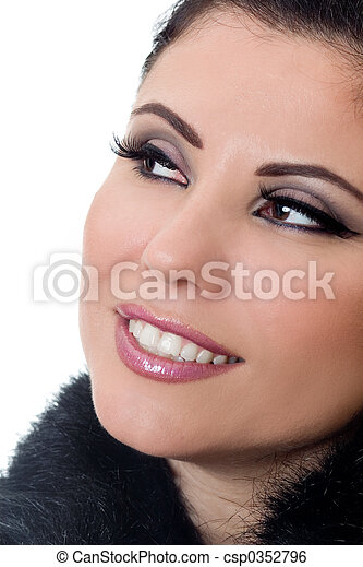 Smiling woman with makeup - csp0352796