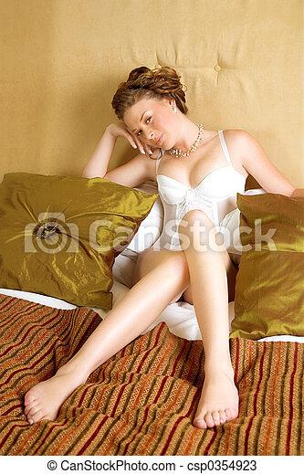 dreamy bride in lingerie - csp0354923