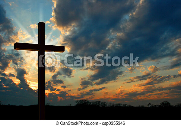 pôr do sol, crucifixos - csp0355346