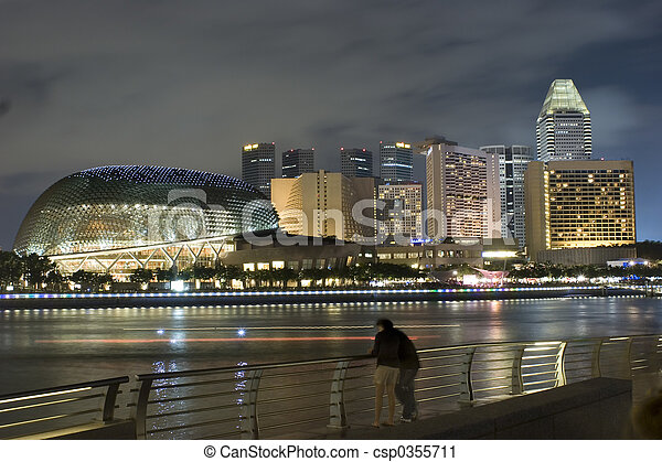 Singapore at Night - csp0355711
