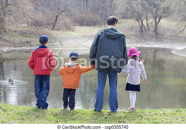 Children with father - csp0355745