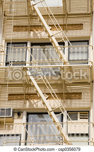 Stock Photo of a Fire Escape on Historic Building - csp0356079