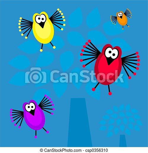 funky retro birds - csp0356310