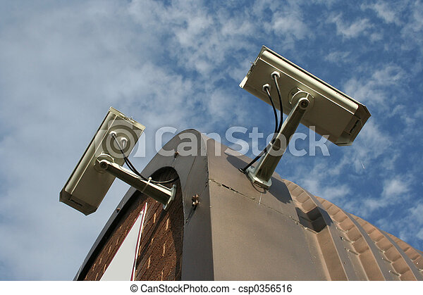 roof mounted CCTV cameras against sky - csp0356516