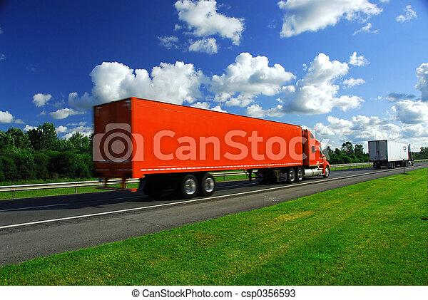 camión, velocidad, carretera - csp0356593