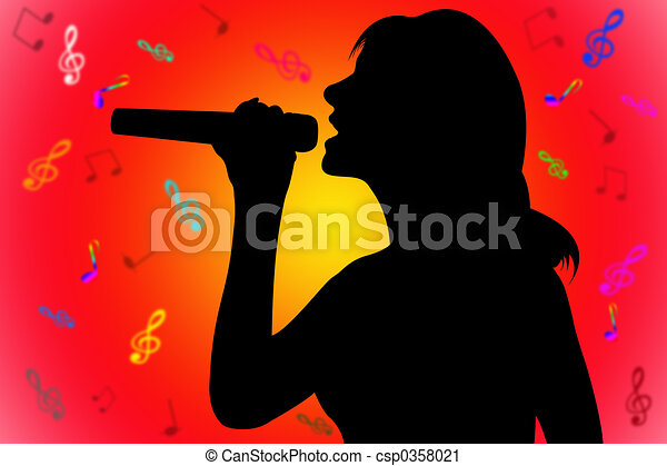 silhouette singing woman - csp0358021