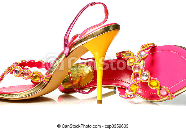 Yellow heel shoes - csp0359603
