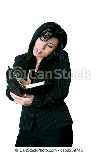 Office worker making a diary appointment - csp0359745