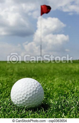 golf ball and flag - csp0363654