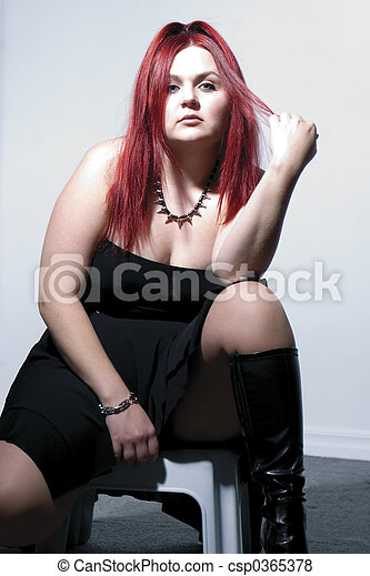 Goth rock red hair chick - High contrast - csp0365378