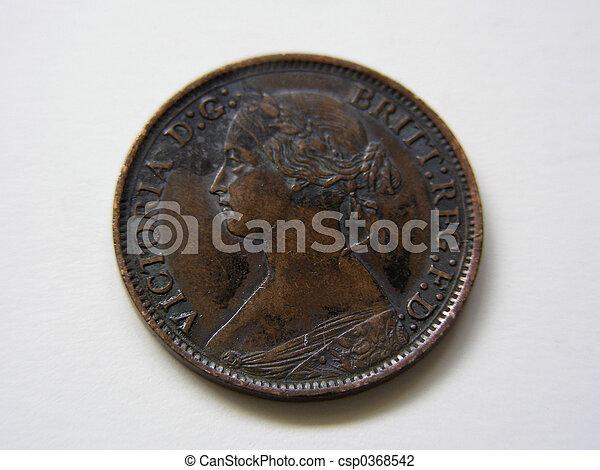 1866 Queen Victoria Farthing, heads - csp0368542