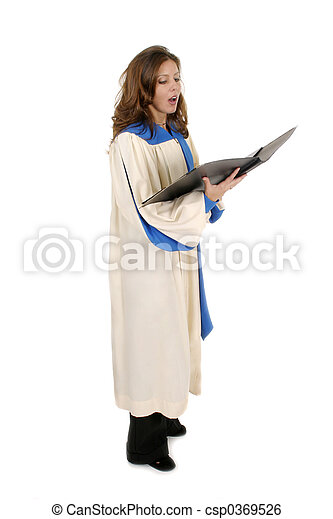 Woman In Church Robe Singing 4 - csp0369526