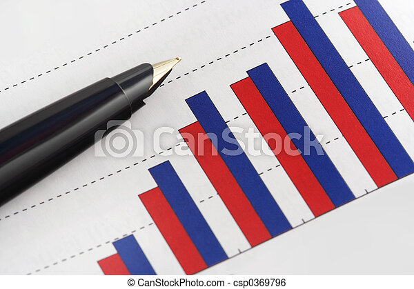 Pen on Positive Earning Graph - csp0369796