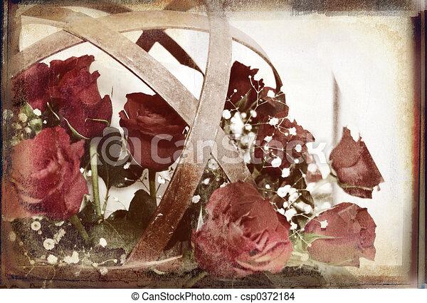 rustic flower ball overlaid on rich grunge texture - csp0372184