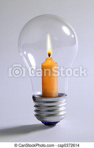 Light Bulb & Candle - csp0372614