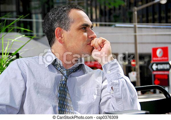 pensando, homem negócios - csp0376309
