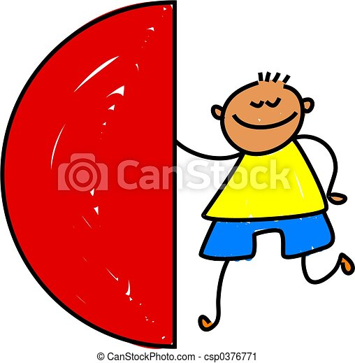Clipart of semi circle kid - child learning about shapes and fractions ...