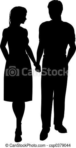 Dessin De Couple Marche Silhouette De A Couple Marche Main Csp0379044 Recherchez
