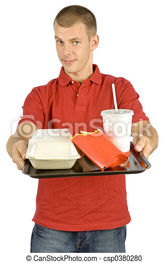 man with fast food tray - csp0380280