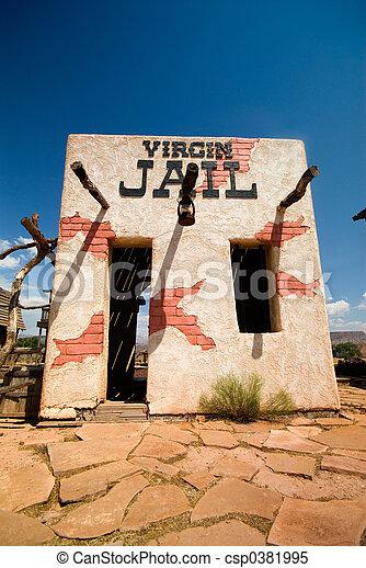 viejo, oeste, cárcel, casa - csp0381995