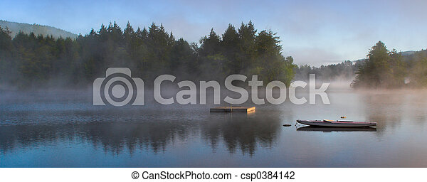 Morning Fog on a Lake (Panorama) - csp0384142